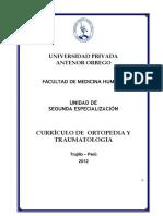 Curriculo de Ortopedía y Traumatología
