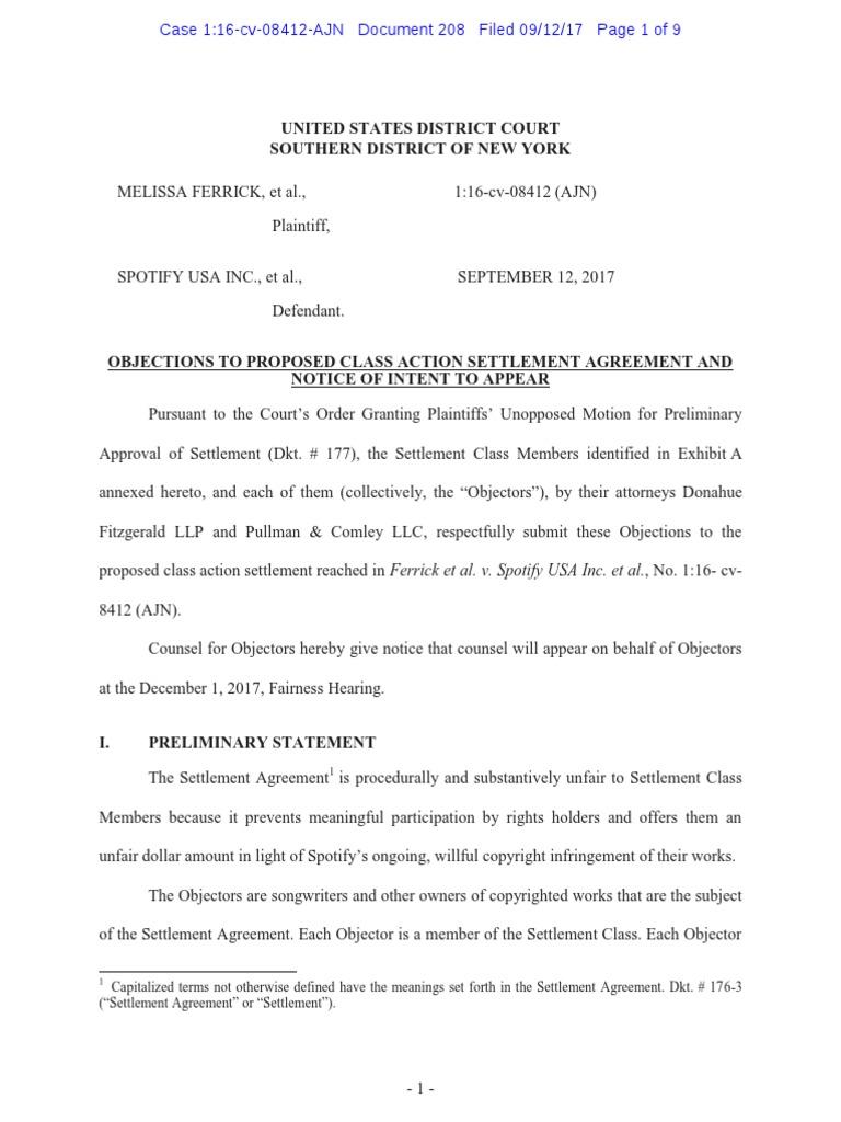 Spotify Objections To Settlement Settlement Litigation Class