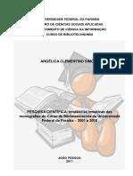 Pesquisa Científica - Tendências Temáticas Das Monografias de Biblioteconomia Da UFPB