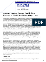 Smoking Control Among Health-Care Workers -- World No-Tobacco Day, 1993