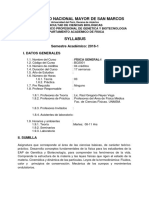 Syllabus Fisica General I- 2016-1
