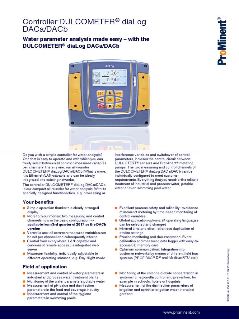 Flyer Dulcometer Dialog Daca Dacb En   Relé   Interferencia