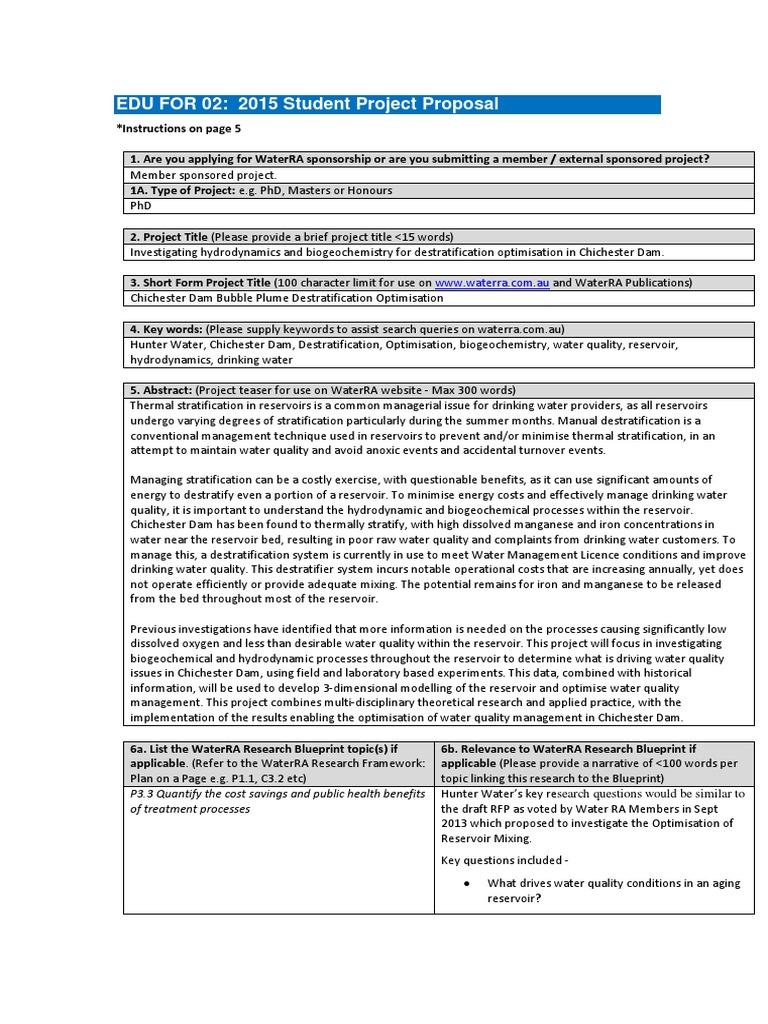 4511 15 2015 Phd Project Proposal Hunter Water Reservoir Doctor
