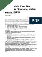 Fakta-Fakta Keunikan Bilangan Fibonacci Dalam Dunia Nyata
