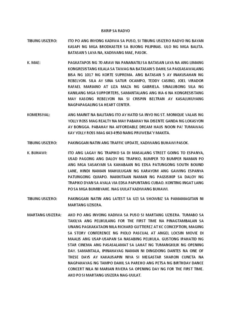 Sample of tagalog broadcasting
