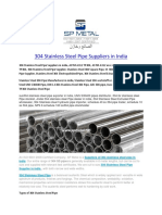 304 Stainless Steel Pipe Suppliers in India