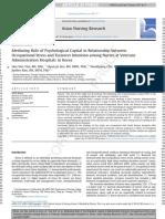 Asian Nursing Research Volume 11 Issue 1 2017 [Doi 10.1016%2Fj.anr.2017.01.002] Yim, Hee-Yun; SEO, Hyun-Ju; Cho, Yoonhyung; Kim, JinHee -- Mediating Role of Psychological Capital in Relationship Betwe