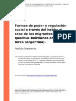 Patricia Dreidemie (2008). Formas de Poder y Regulacion Social a Traves Del Habla El Caso de Los..