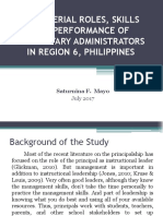 Managerial Roles, Skills and Performance of Elementary