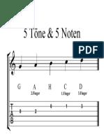 5 Töne & 5 Noten (Mit TAB) - Partitur