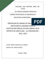 Obtencion de Harina de Pan de Arbol Para La Sustitucion Parcial en Pan Comun