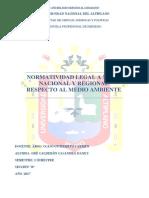 Normatividad Legal a Nivel Nacional y Regional Respecto Al Medio Ambiente