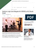 12-09-17 Nombran a Regio Como Delegado de La SEDESOL en NL, Ricardo Brandi _ Regiando