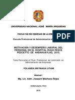 Motivación y Desempeño Laboral Del Personal en El Hospital Hugo Pesce Pescetto de Andahuaylas 2015 Peru