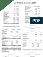 Prestação de Contas 15 - Setembro 2009