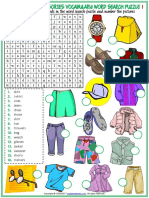 Clothes and Accessories Vocabulary Esl Word Search Puzzle Worksheets for Kids