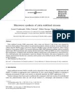 Microwave Synthesis of Yttria Stabilized Zirconia