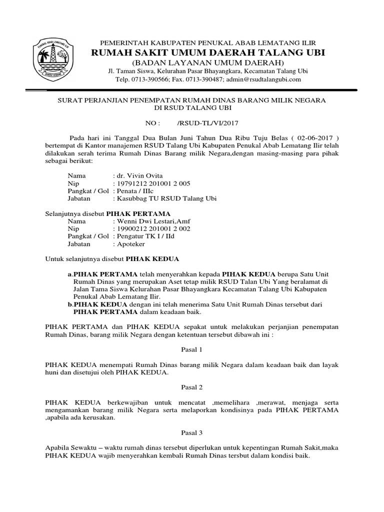 Surat Perjanjian Pinjam Pakai Rumah Dinas Docx