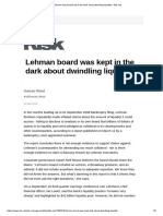 Lehman Board Was Kept in the Dark About Dwindling Liquidity - Risk
