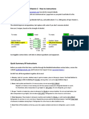 QualityLiposomalC Instructions   Dose (Biochemistry)   Vitamin C