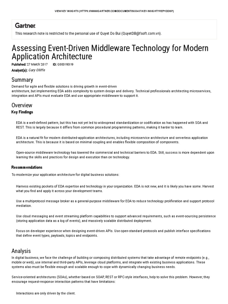 Assessing Event-Driven Middleware Technology for Modern Application