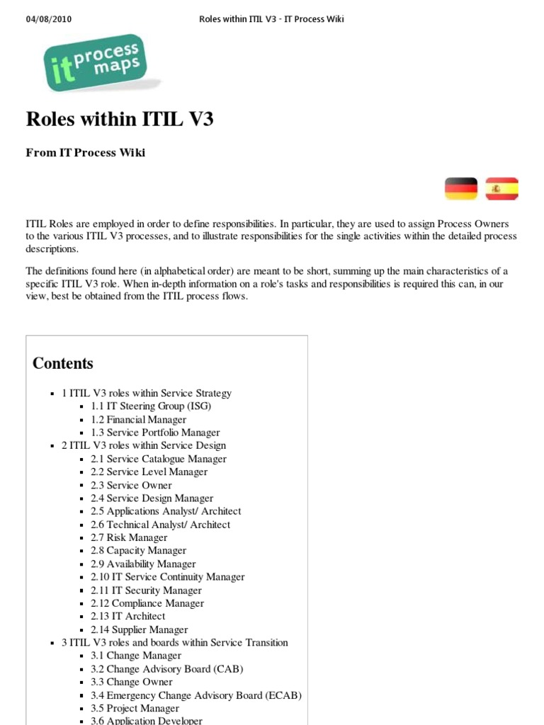 Roles within itil v3 it process wiki itil it service management malvernweather Images