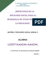 Ensayo La Importancia de La Psicología Social Para El Desarrollo de Otras Áreas de La Psicología
