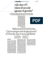 """Il Family Day e Forza Italia schedano le scuole """"Insegnano il gender"""""""