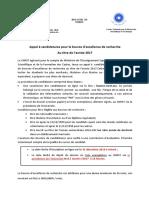Appel Candidature Bourse 2017
