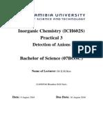 Inorganic Chemistry Lab Report 3