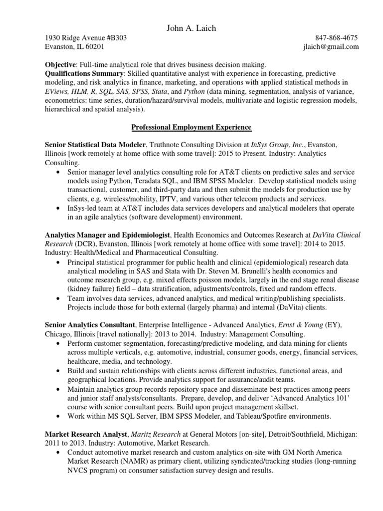 John Laich ResumeCV   Sas (Software)   Analytics