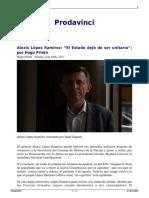 Alexis Lopez Ramirez El Estado Dejo de Ser Unitario Por Hugo Prieto