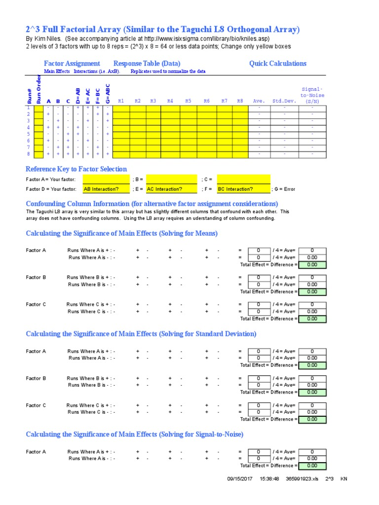 8 Run DOE Template   F Test   Errors And Residuals