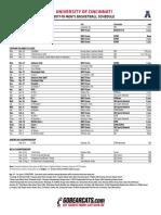UC Men's Basketball Schedule