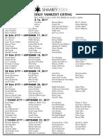 September 16, 2017 Yahrzeit List