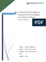 La Dirección Estratégica y Planeamiento Estratégico en El Sector Público
