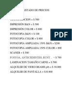 Lista de Precios Por Impresión o Copia