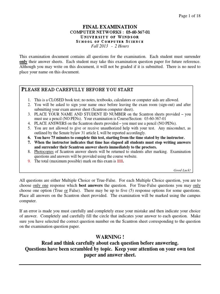 367 Final Fall 2013 Answers | Computer Network | Transmission