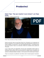 Pedro Trigo Hay Que Respetar La Paz Siempre Por Hugo Prieto