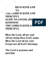 Lyrics - The Lord is Kind and Merciful (Cotter)