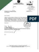 Informe de Comision Sobre La Solicitud Del Presidente de La Republica Para Que La Asamblea Nacional Apruebe El Convenio Sobre La Igualdad de Oportunidades y de Trato Entre Trabajadores y Trabajadoras