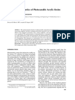 Polymerization Kinetics of Photocurable Acrylic Resins