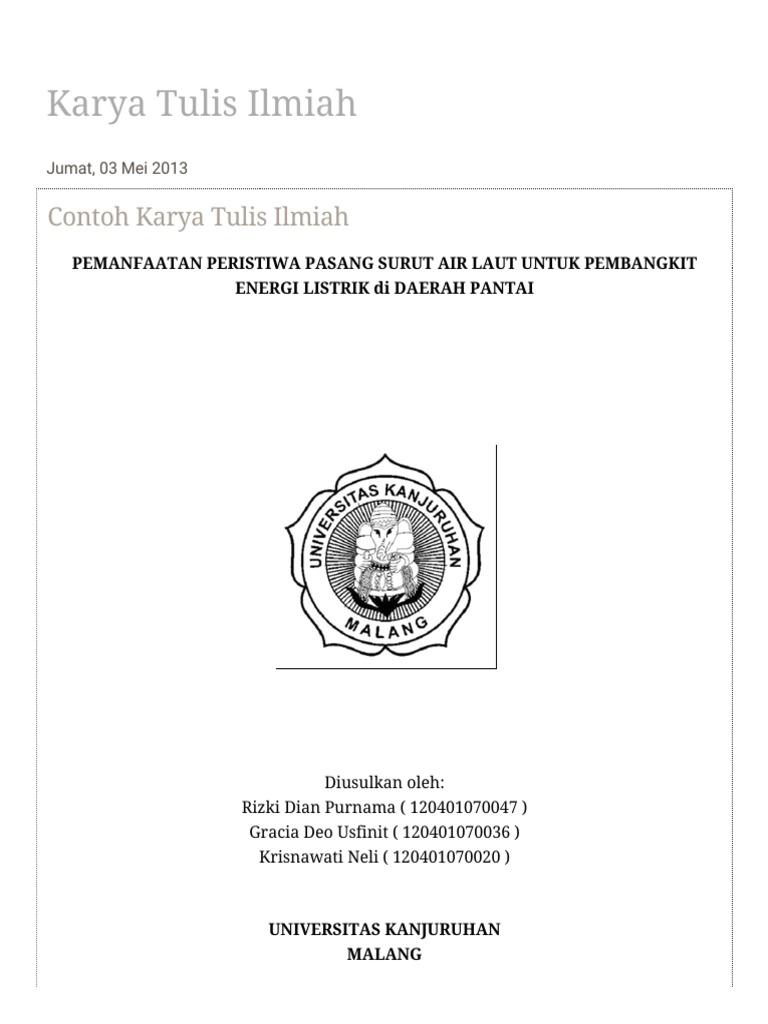 Contoh Karya Tulis Ilmiah Singkat Pdf