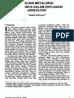 Analisis Metalurgi Peranannya Dengan Eksplanasi.arkeologi.timbul Haryono
