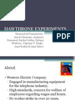 Hawthrone Experiments 2003
