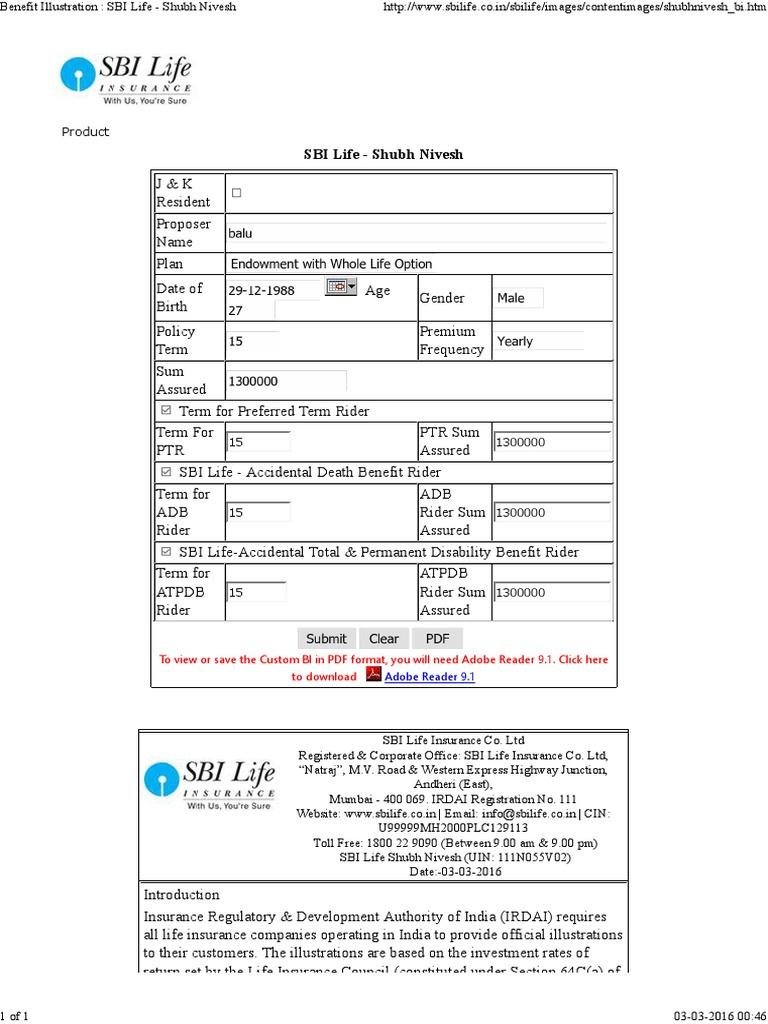 Benefit Illustration _ SBI Life - Shubh Nivesh.pdf | Life ...