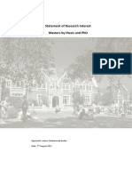 Research Statement (Masters Thesis and PhD)