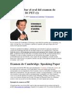 Cómo Aprobar El Oral Del Examen de Cambridge B1 PET