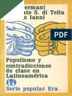Germani, Di Tella y Ianni - Populismo y Contradicciones de Clase en Latinoamérica 1973