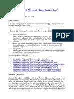 Implmenting Windows Server Clustering , File Server Clustering, SQL Server Clustering